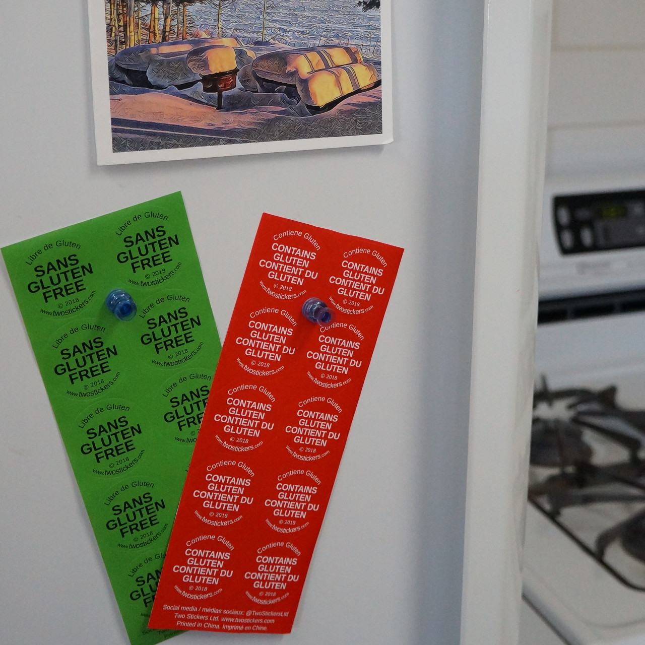 Gluten Sticker Sheets on Fridge